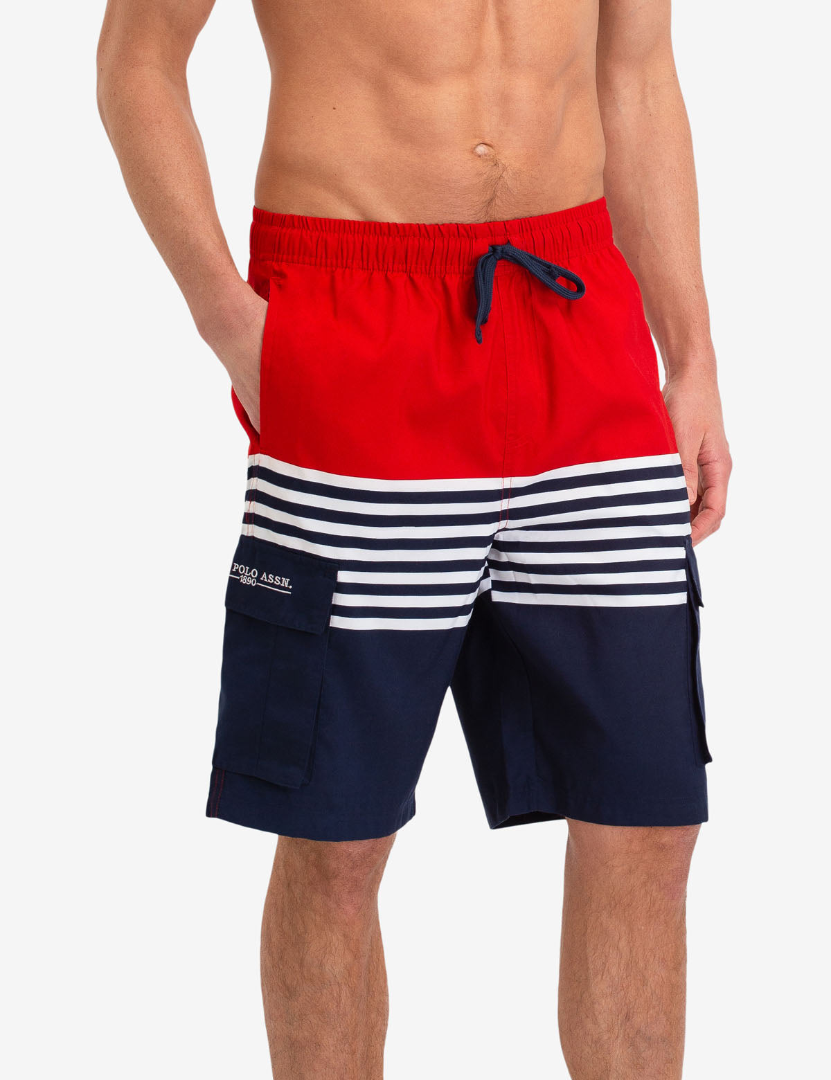 STRIPE CARGO SWIM TRUNKS - U.S. Polo Assn.