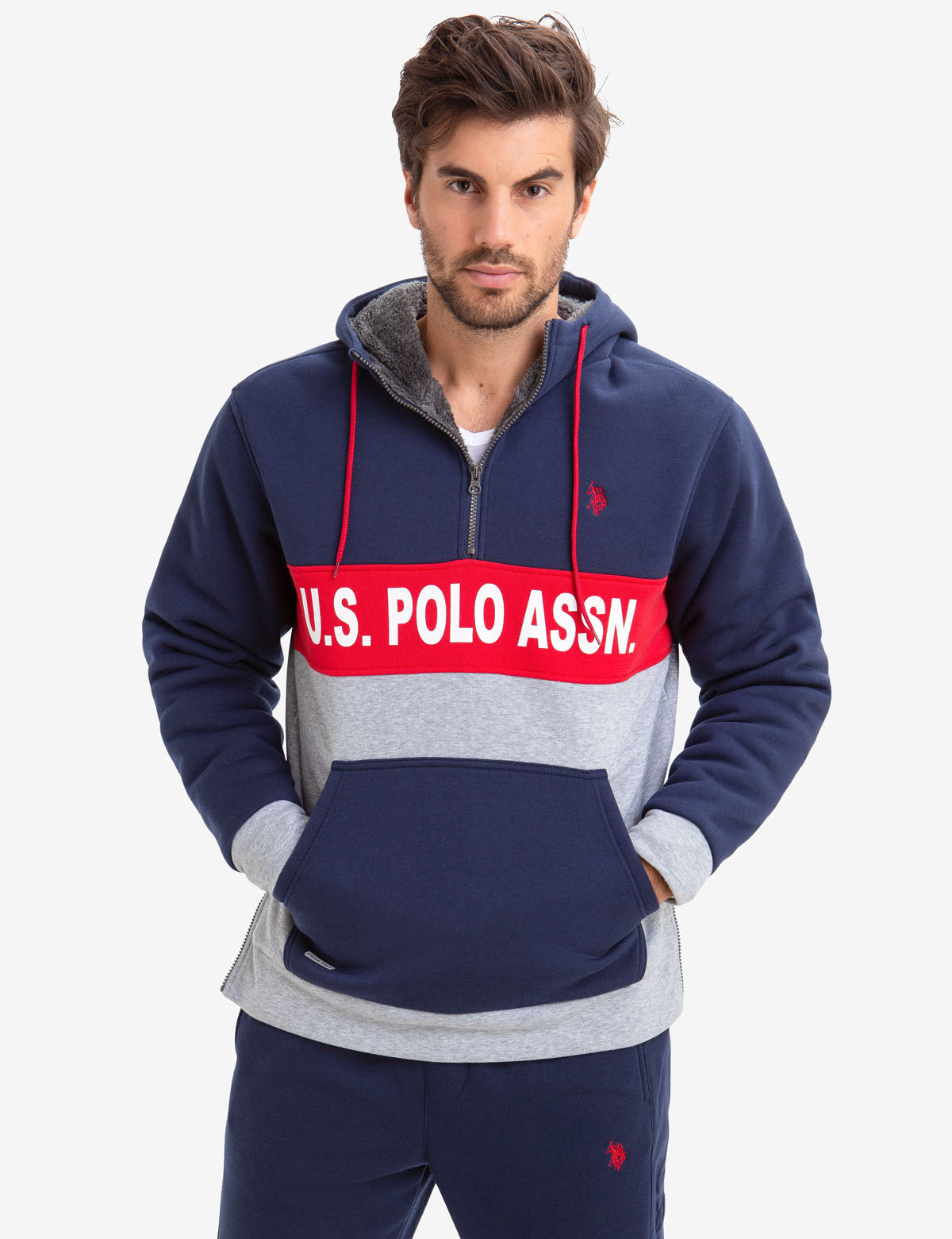 COLORBLOCK FAUX SHEARLING LINED U.S. POLO ASSN. HOODIE