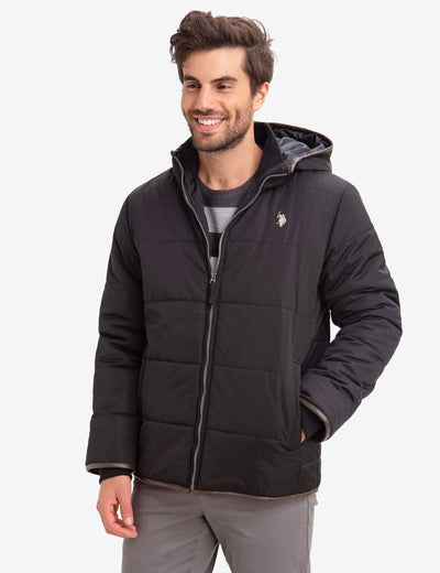 LEATHER TRIM FLEECE LINED PUFFER COAT - U.S. Polo Assn.