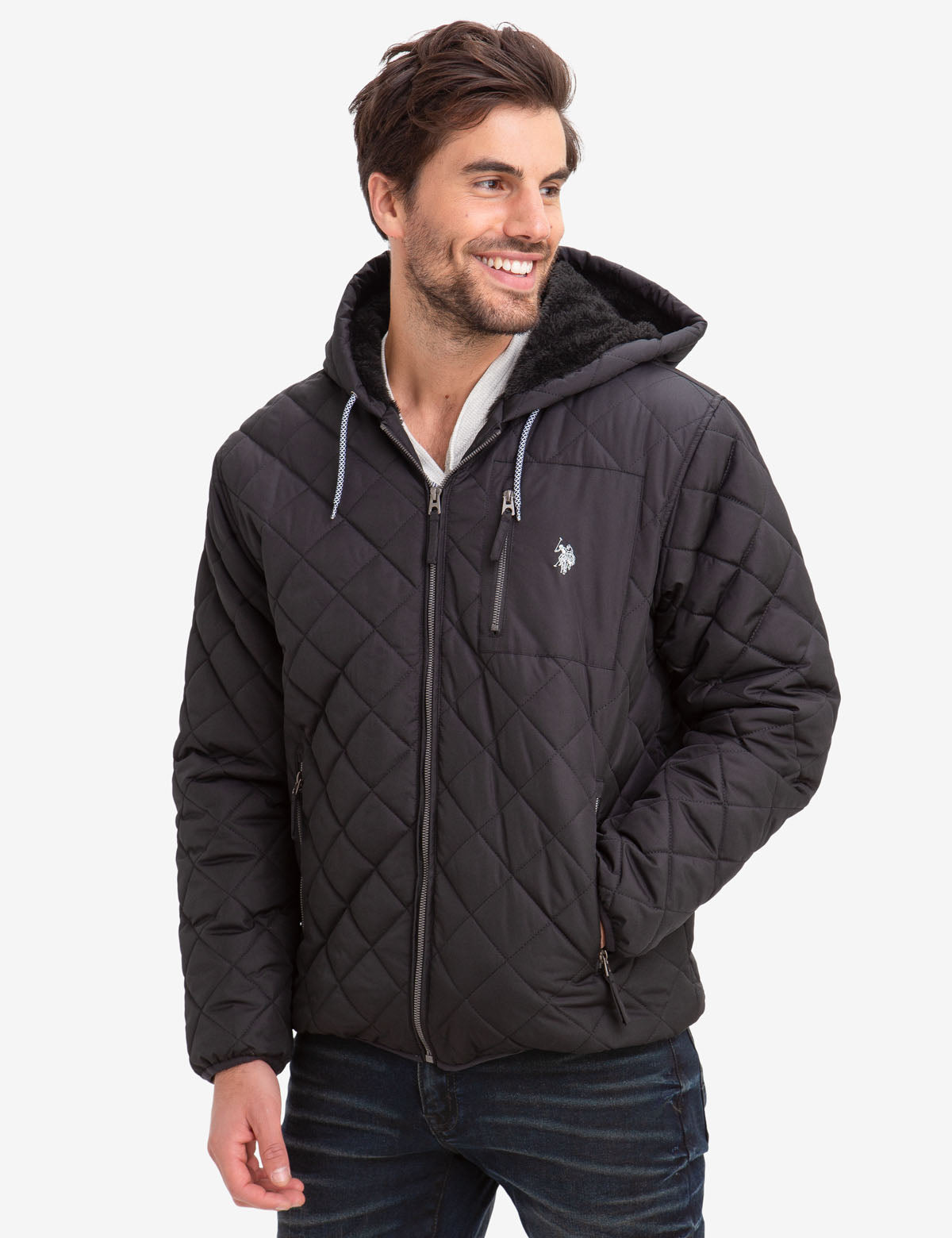 DIAMOND QUILTED FLEECE LINED HOODED COAT