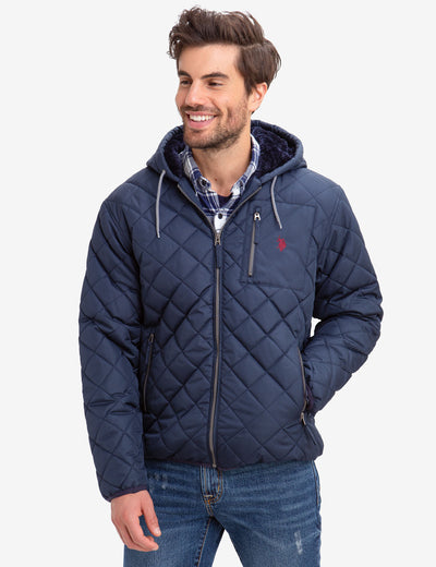 DIAMOND QUILTED FLEECE LINED HOODED COAT - U.S. Polo Assn.