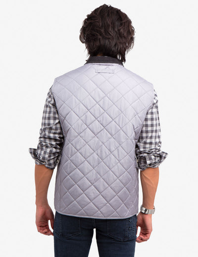 QUILTED VEST WITH CORDUROY COLLAR - U.S. Polo Assn.