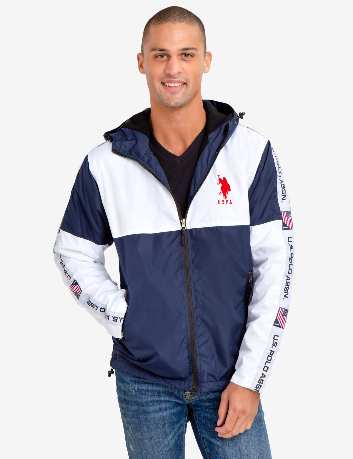 HOODED WINDBREAKER WITH U.S. POLO ASSN. SIDE TAPING