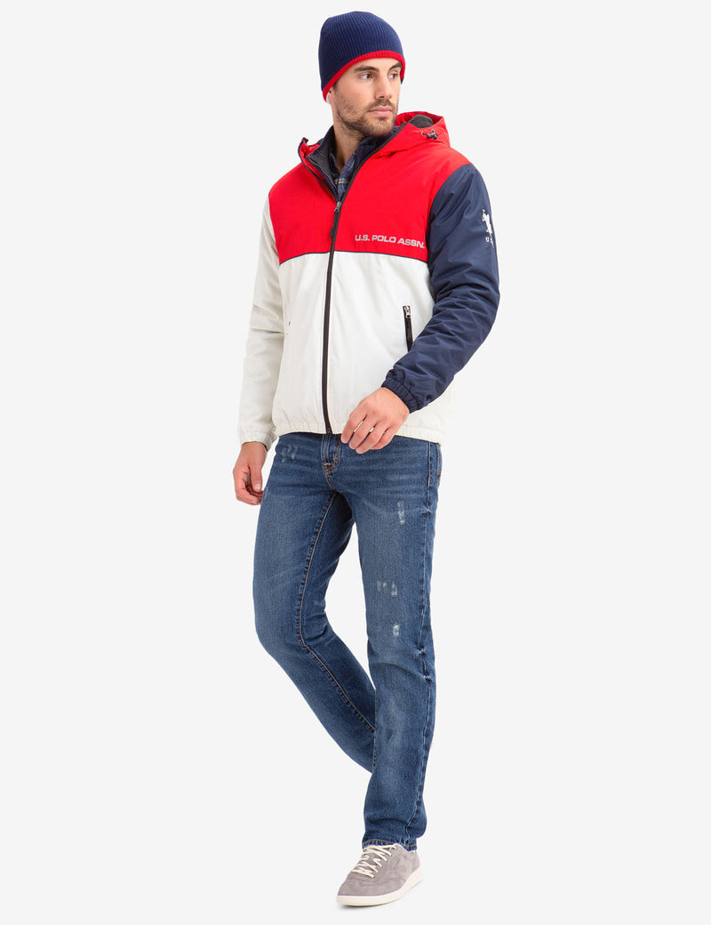 COLORBLOCK FLEECE LINED HOODED COAT