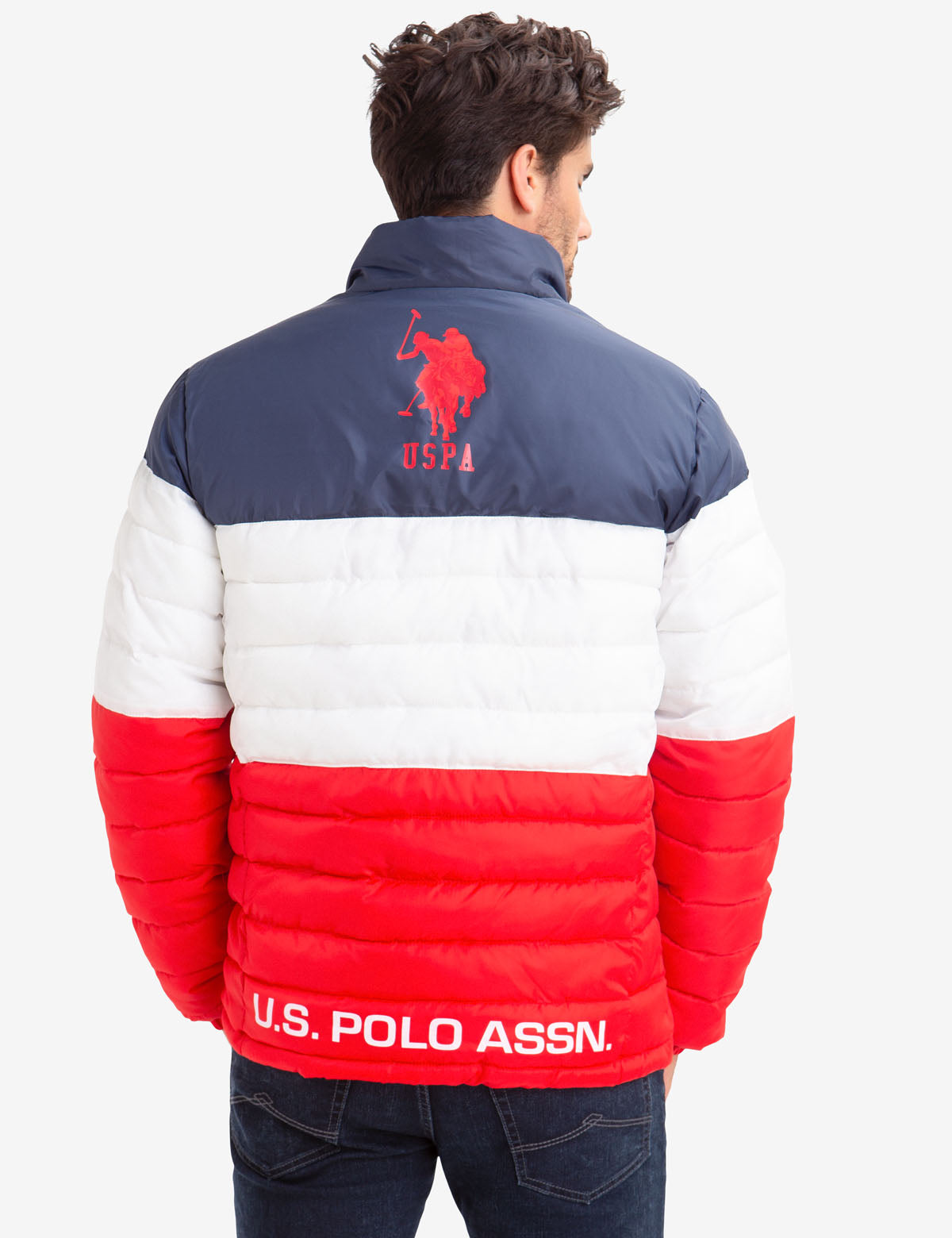 U.S Polo Assn Mens Color Block Puffer Jacket
