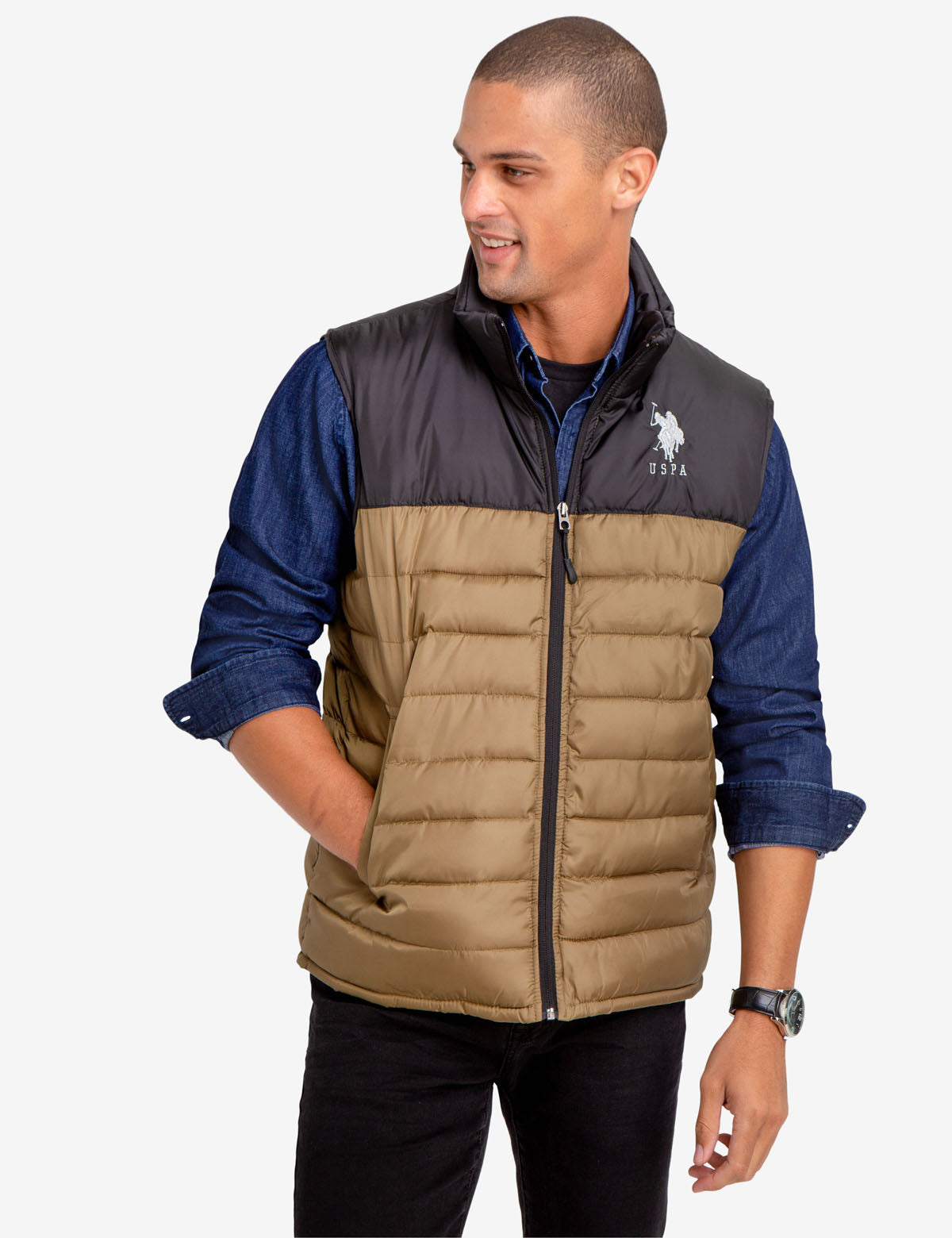ESSENTIAL COLORBLOCK PUFFER VEST