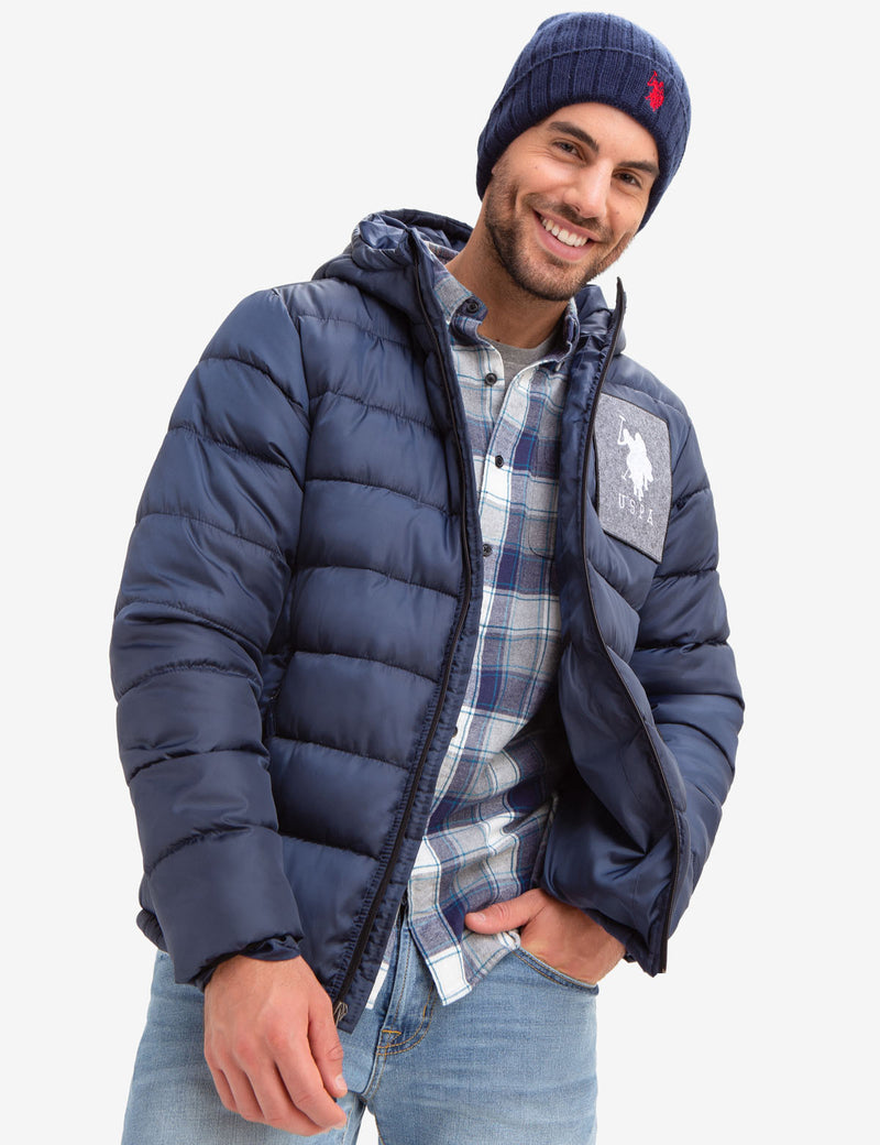 USPA FELT PATCH PUFFER COAT