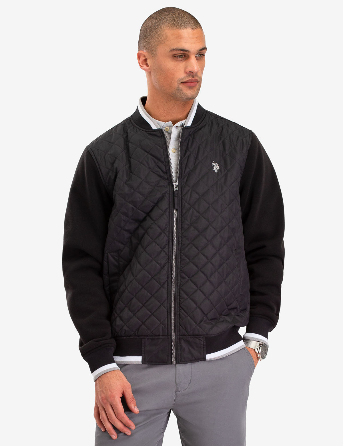 QUILTED KNIT SLEEVE JACKET - U.S. Polo Assn.