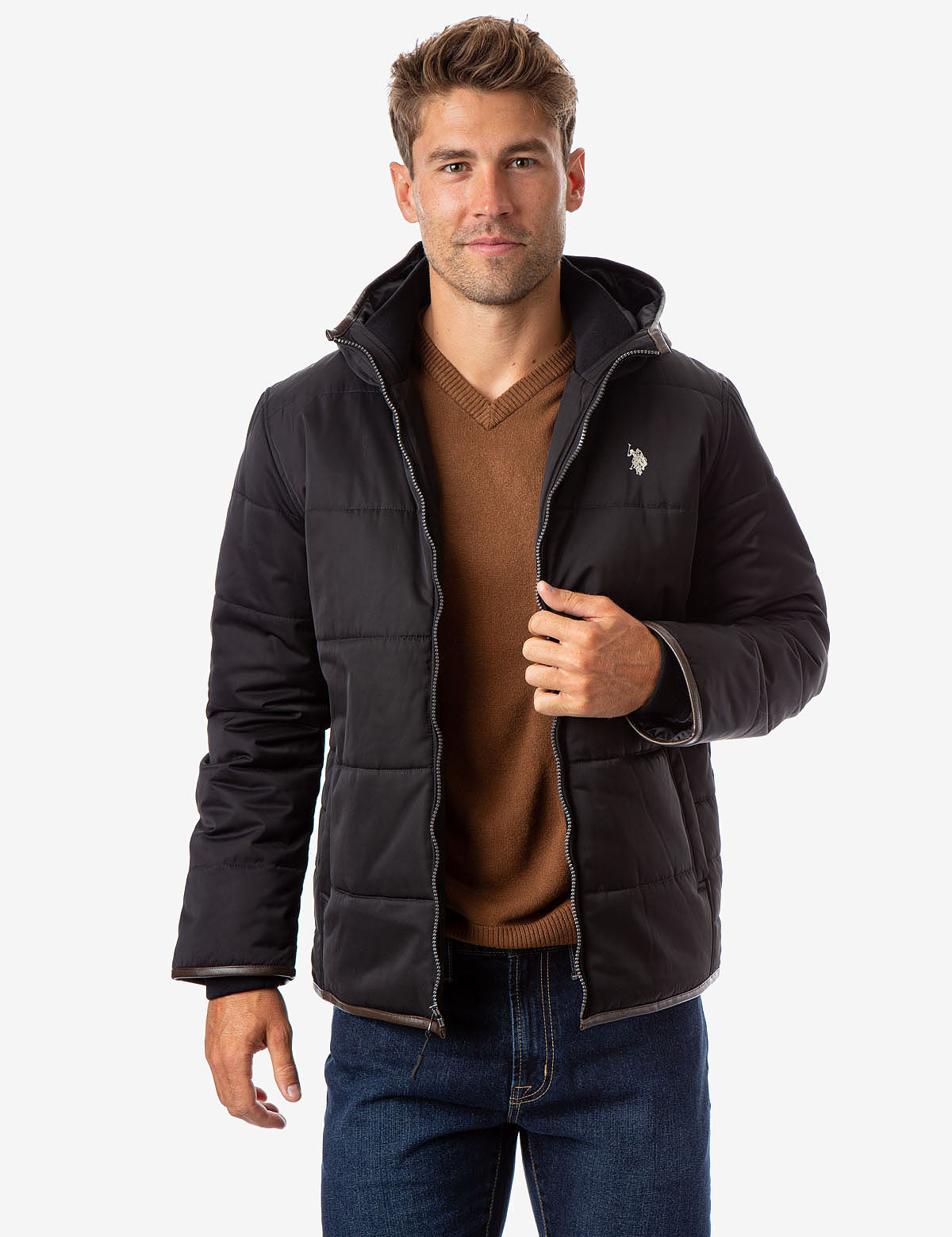 TRIM HOODED PUFFER JACKET - U.S. Polo Assn.