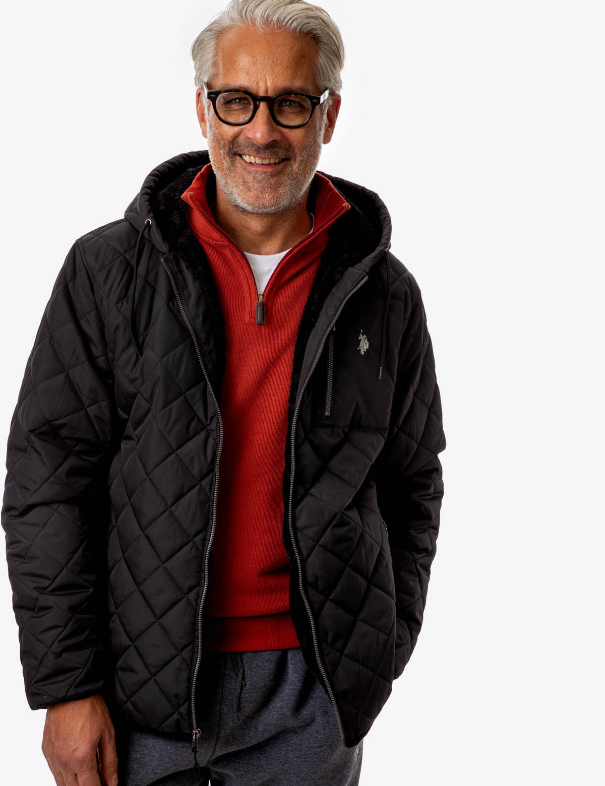 DIAMOND QUILTED FLEECE JACKET