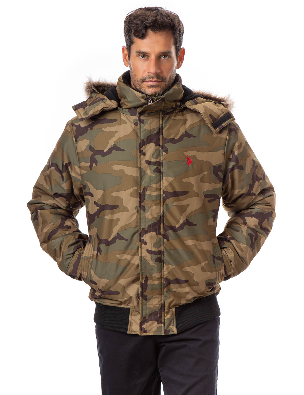 CAMO FAUX FUR TRIMMED JACKET - U.S. Polo Assn.