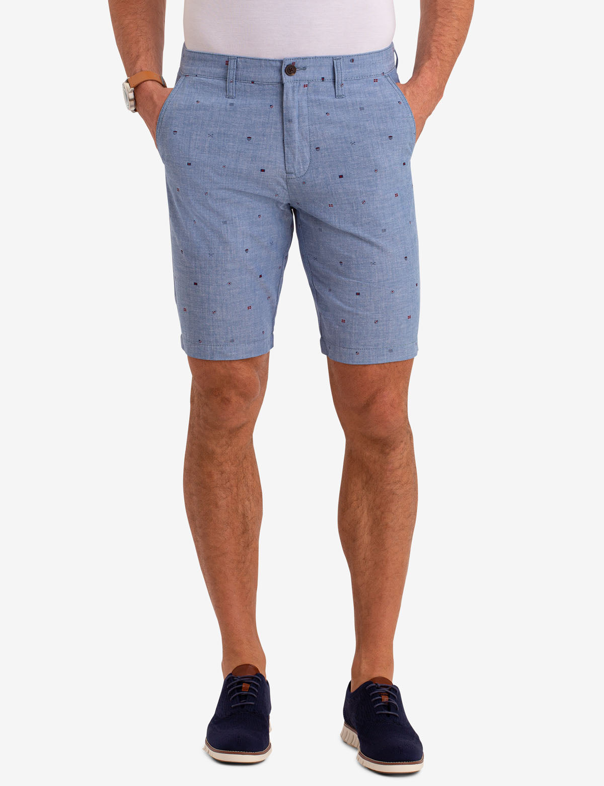 HARTFORD BELTED PRINT CHAMBRAY SHORTS
