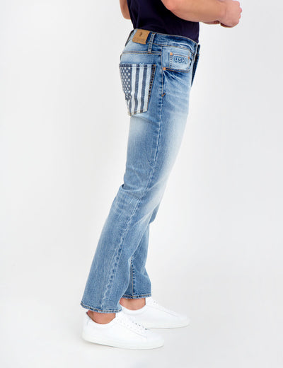 STRETCH SLIM FLAG JEANS