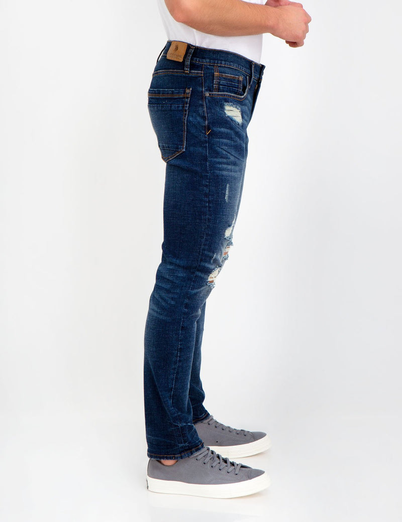 STRETCH SLIM HEAVY DESTRUCTED JEANS