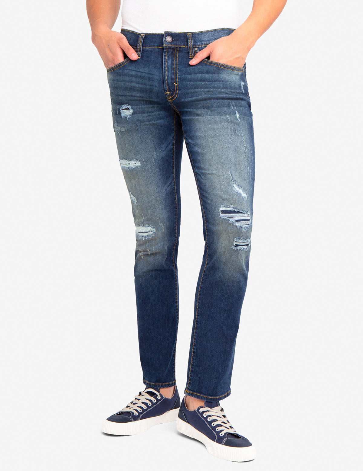 REPREVE® SLIM JEANS WITH RIP & REPAIR