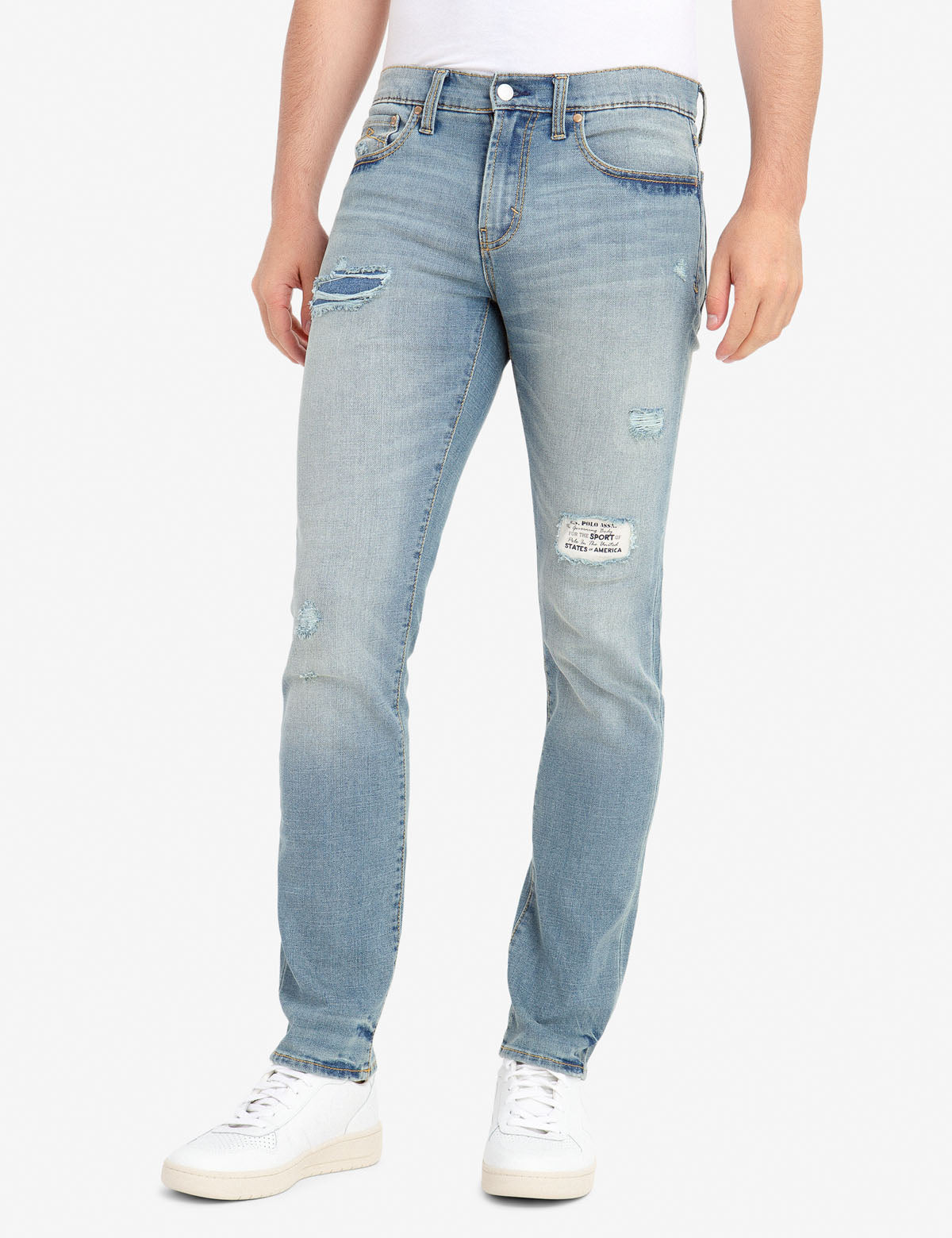 REPREVE® SKINNY FIT DISTRESSED JEANS WITH PATCH REPAIR