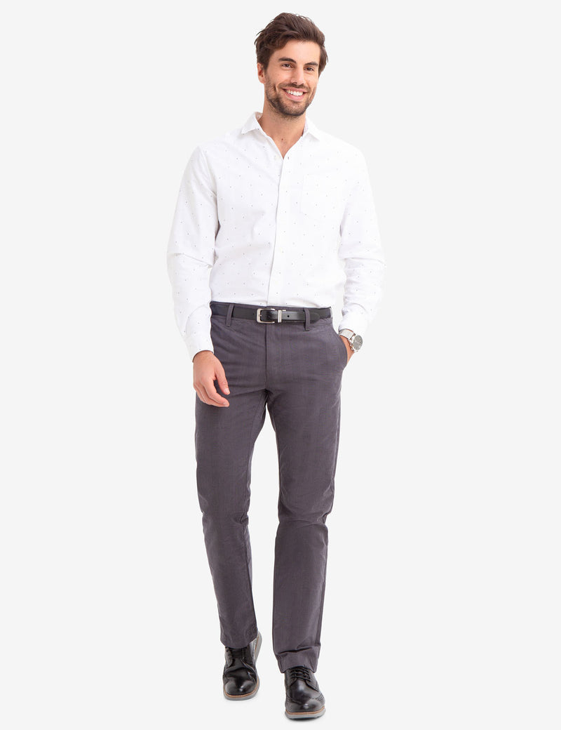 SLIM STRAIGHT PLAID CHINOS