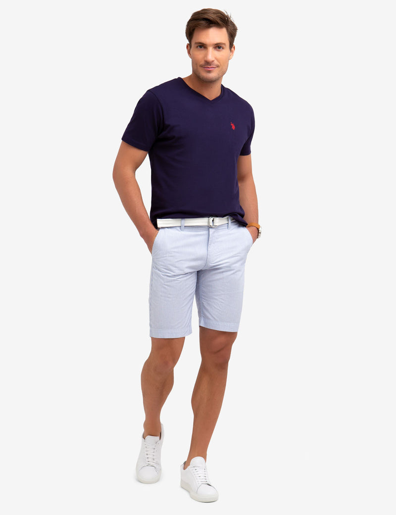 BELTED VERTICAL STRIPED SHORTS
