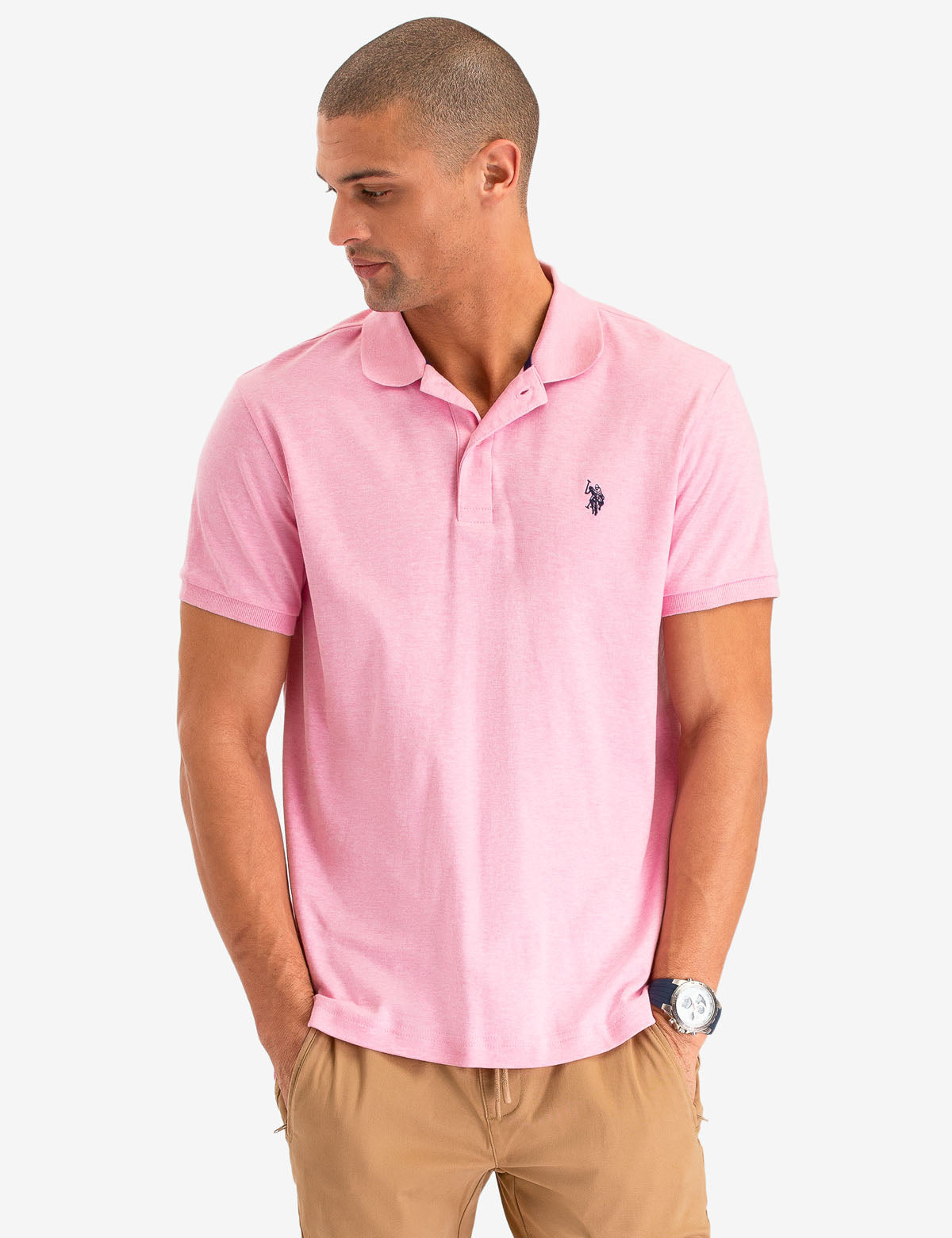 U.S Polo Association Men/'s Short Sleeve Interlock Polo Shirt