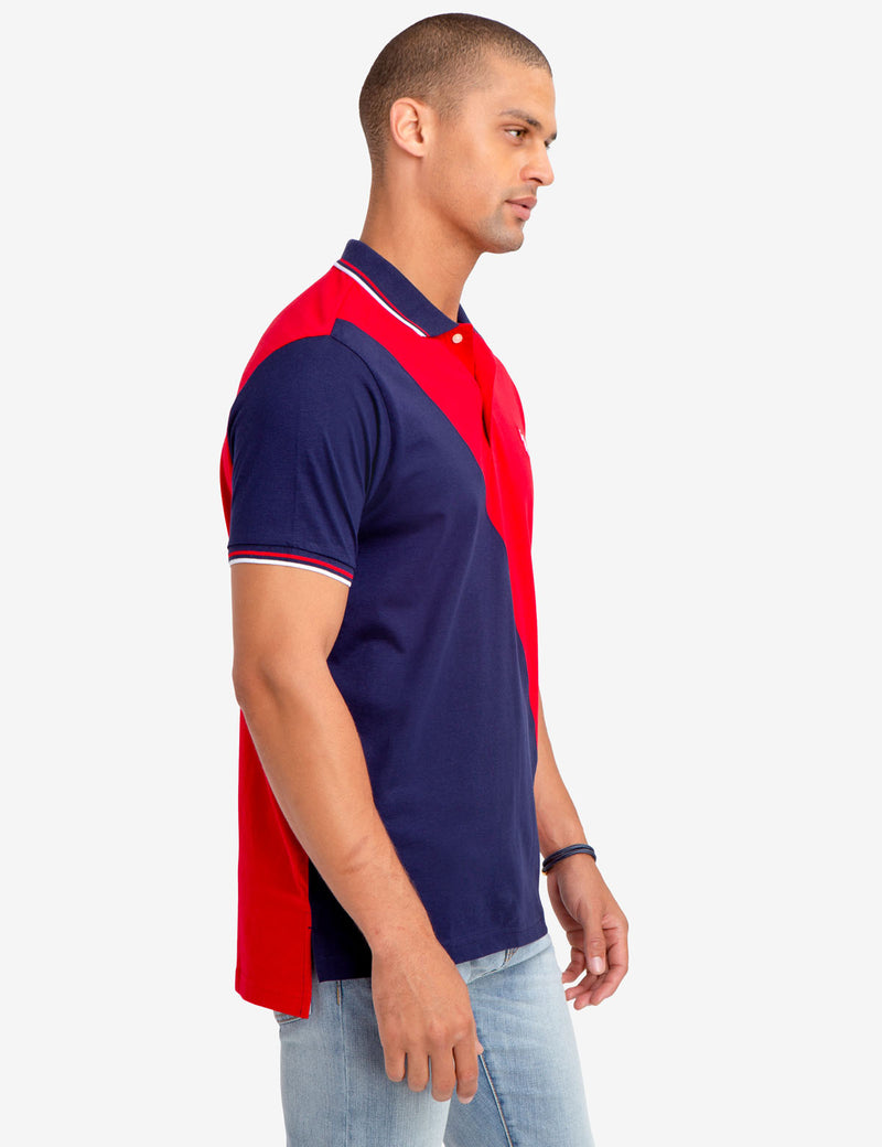 DIAGONAL COLORBLOCK JERSEY POLO SHIRT
