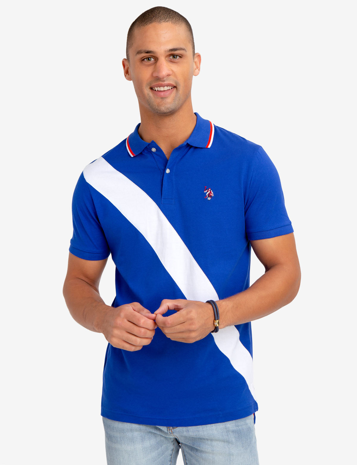 SLIM FIT DIAGONAL STRIPE POLO SHIRT - U.S. Polo Assn.