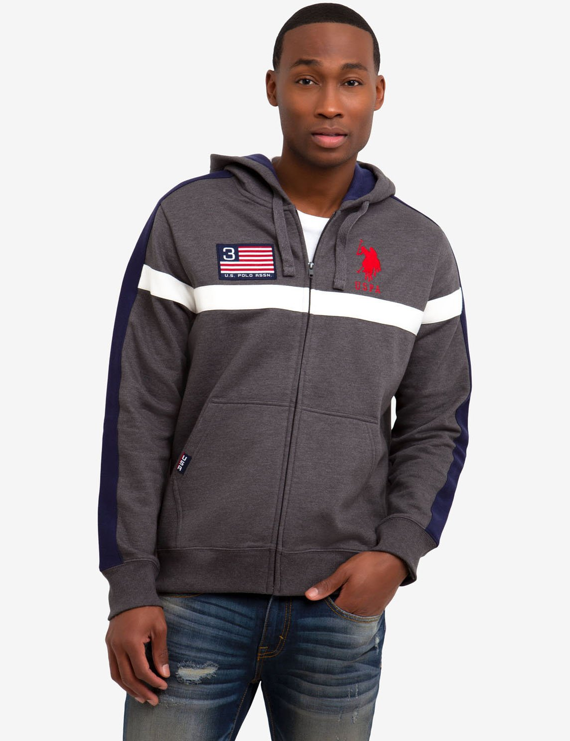 FLAG CHEST STRIPE SWEATSHIRT