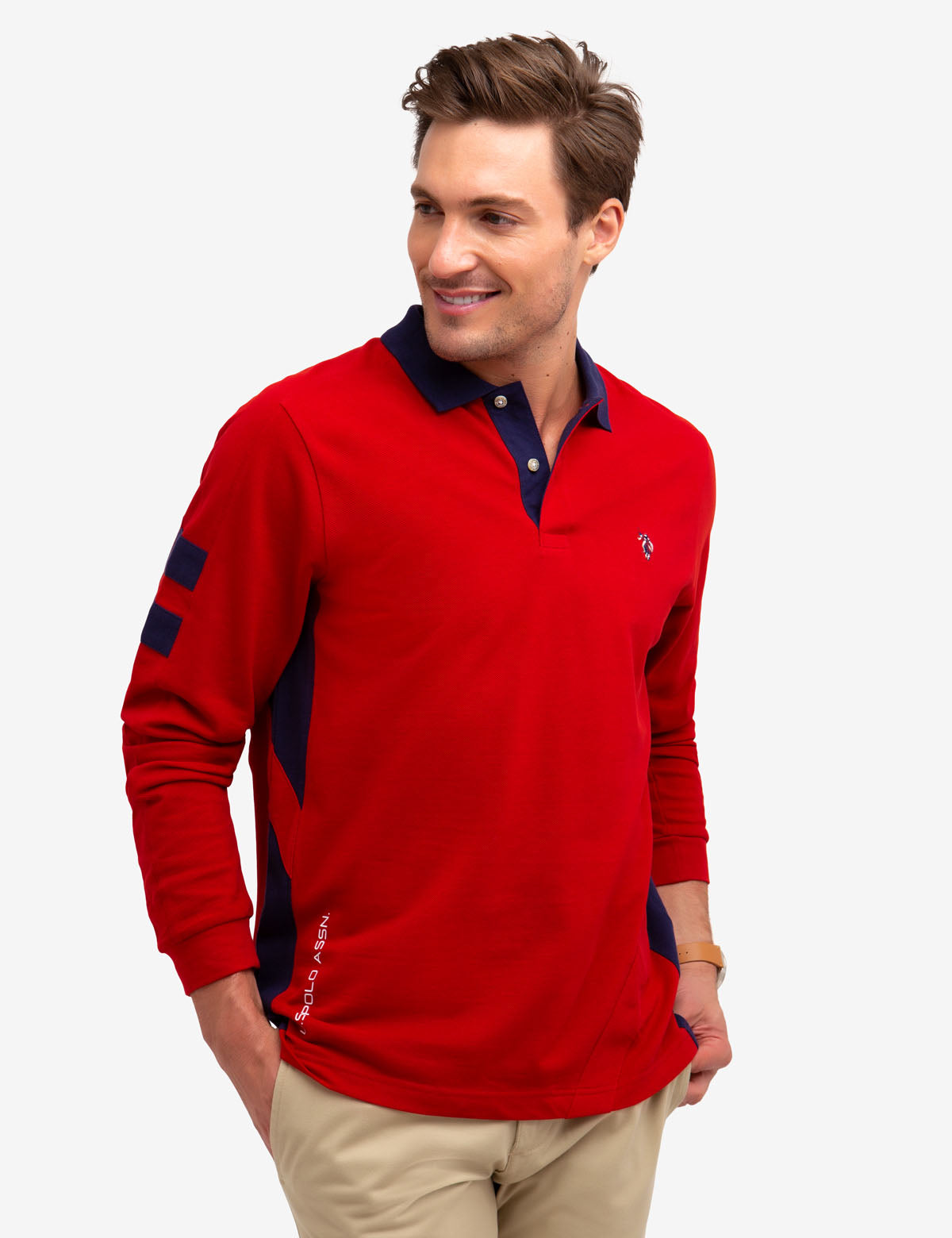 SIDE STRIPE LONG SLEEVE POLO SHIRT