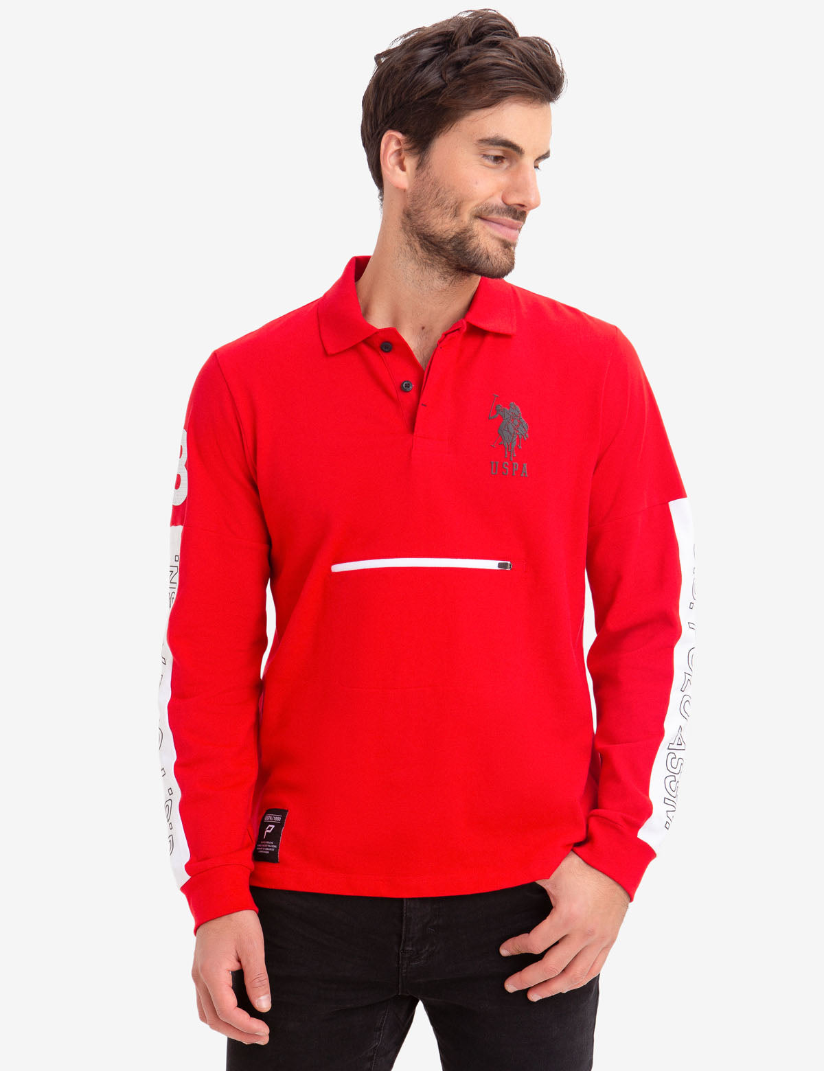 COLORBLOCK ZIP POCKET LONG SLEEVE STRETCH POLO SHIRT