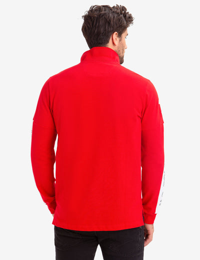 COLORBLOCK ZIP POCKET LONG SLEEVE STRETCH POLO SHIRT - U.S. Polo Assn.