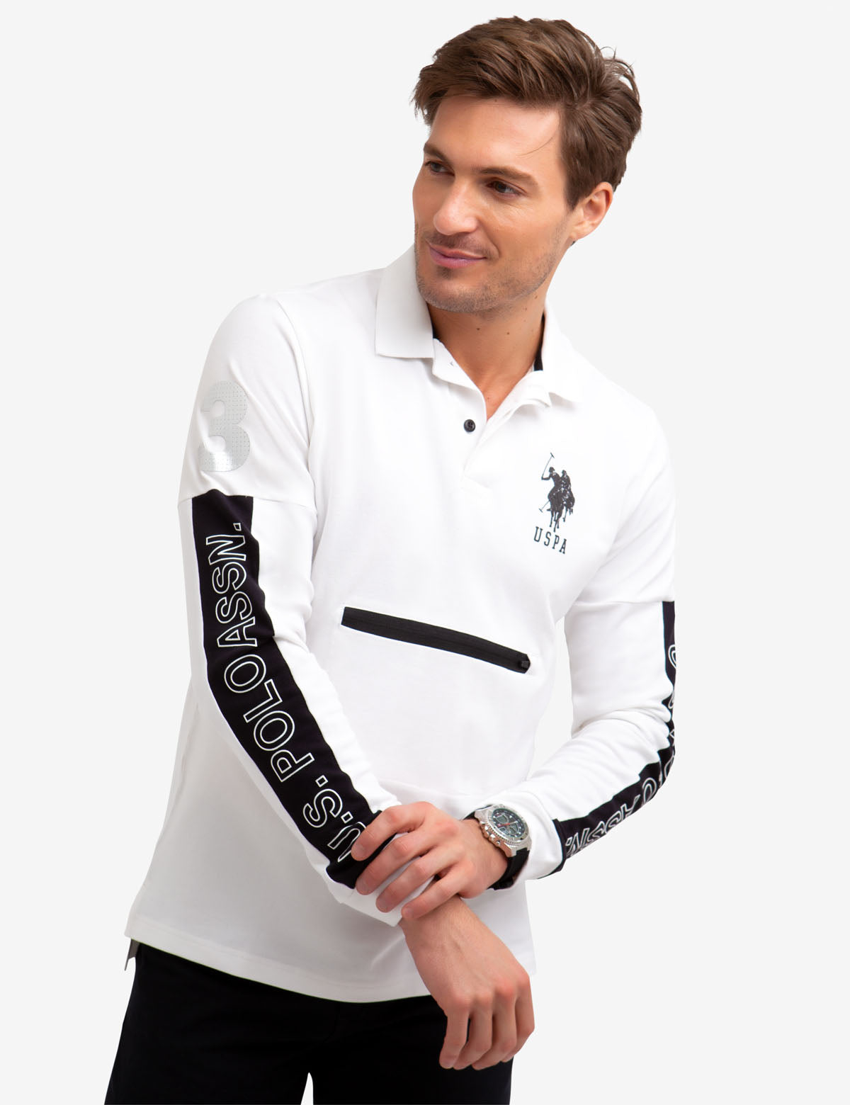 COLORBLOCK ZIP POCKET LONG SLEEVE POLO SHIRT