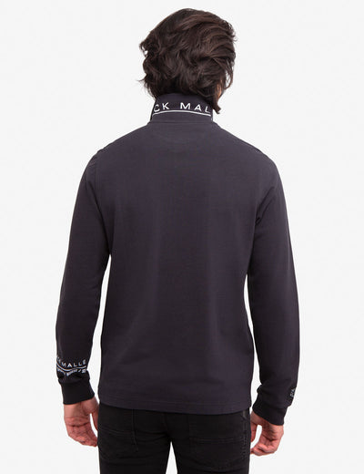 BLACK MALLET LOGO PRINT LONG SLEEVE POLO SHIRT - U.S. Polo Assn.