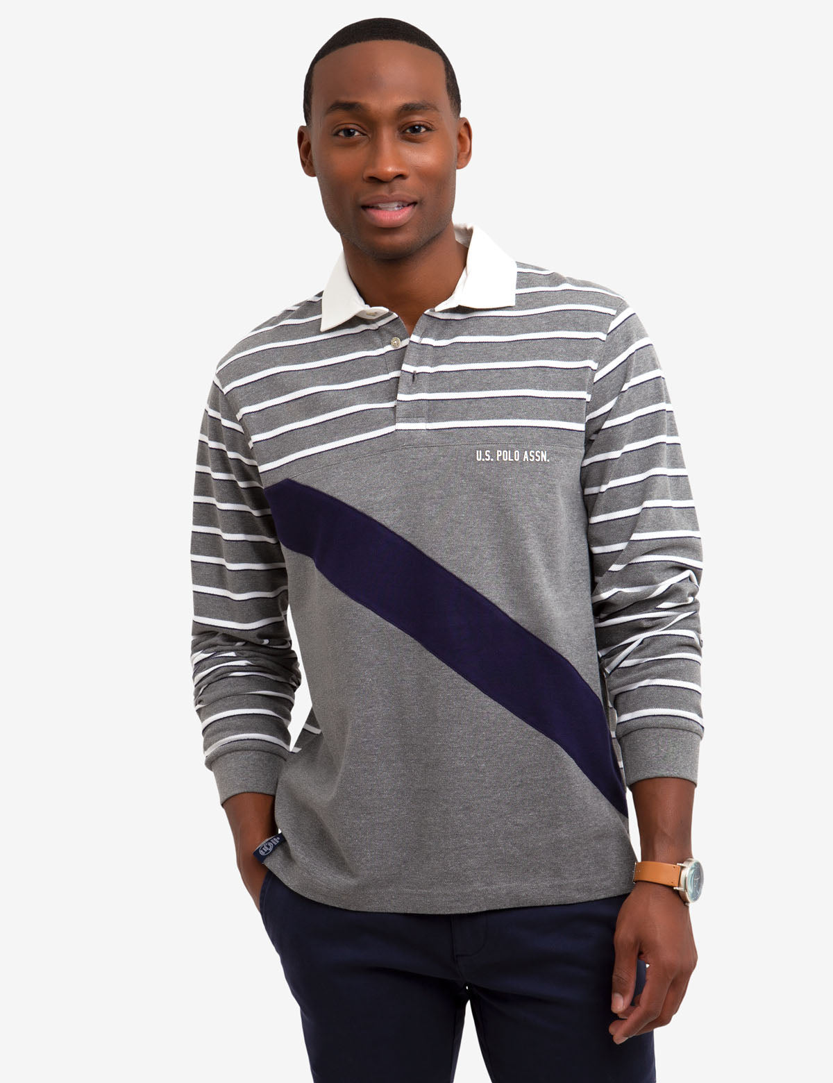 DIAGONAL STRIPE LONG SLEEVE POLO SHIRT