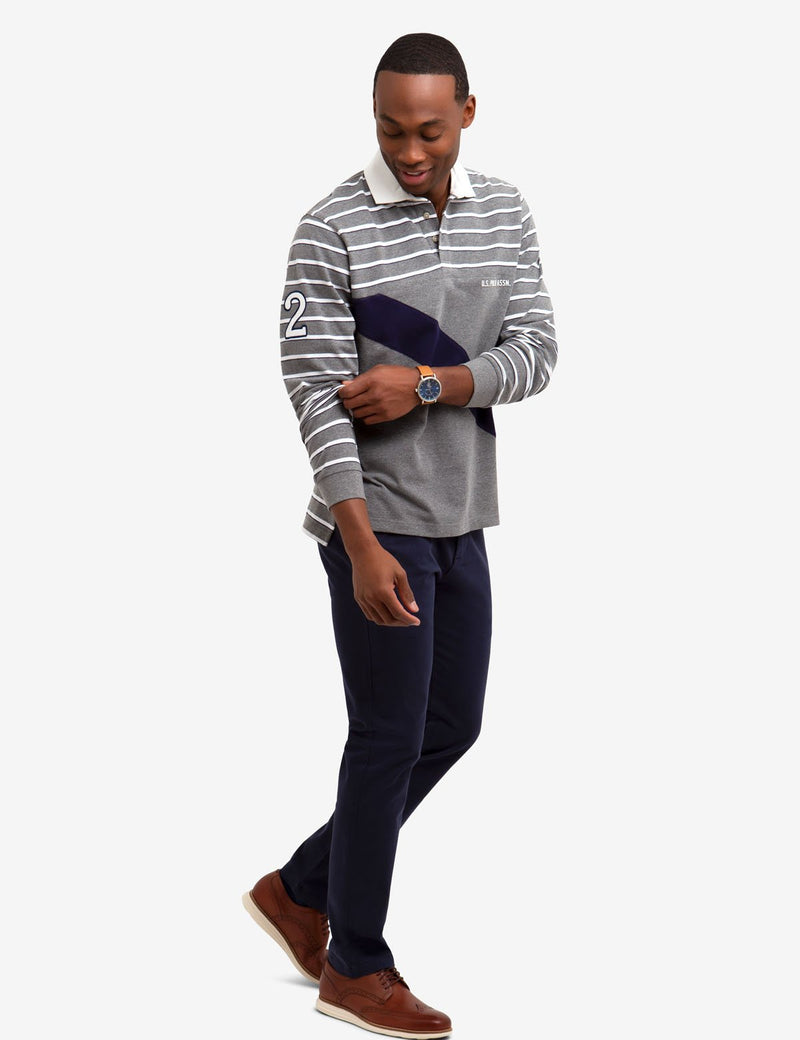 DIAGONAL STRIPE LONG SLEEVE POLO SHIRT - U.S. Polo Assn.