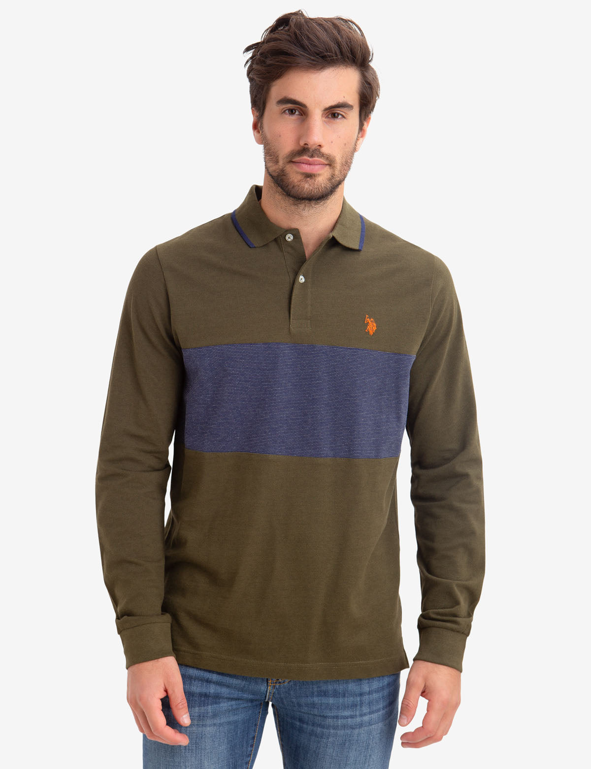 CHEST COLORBLOCK LONG SLEEVE POLO SHIRT