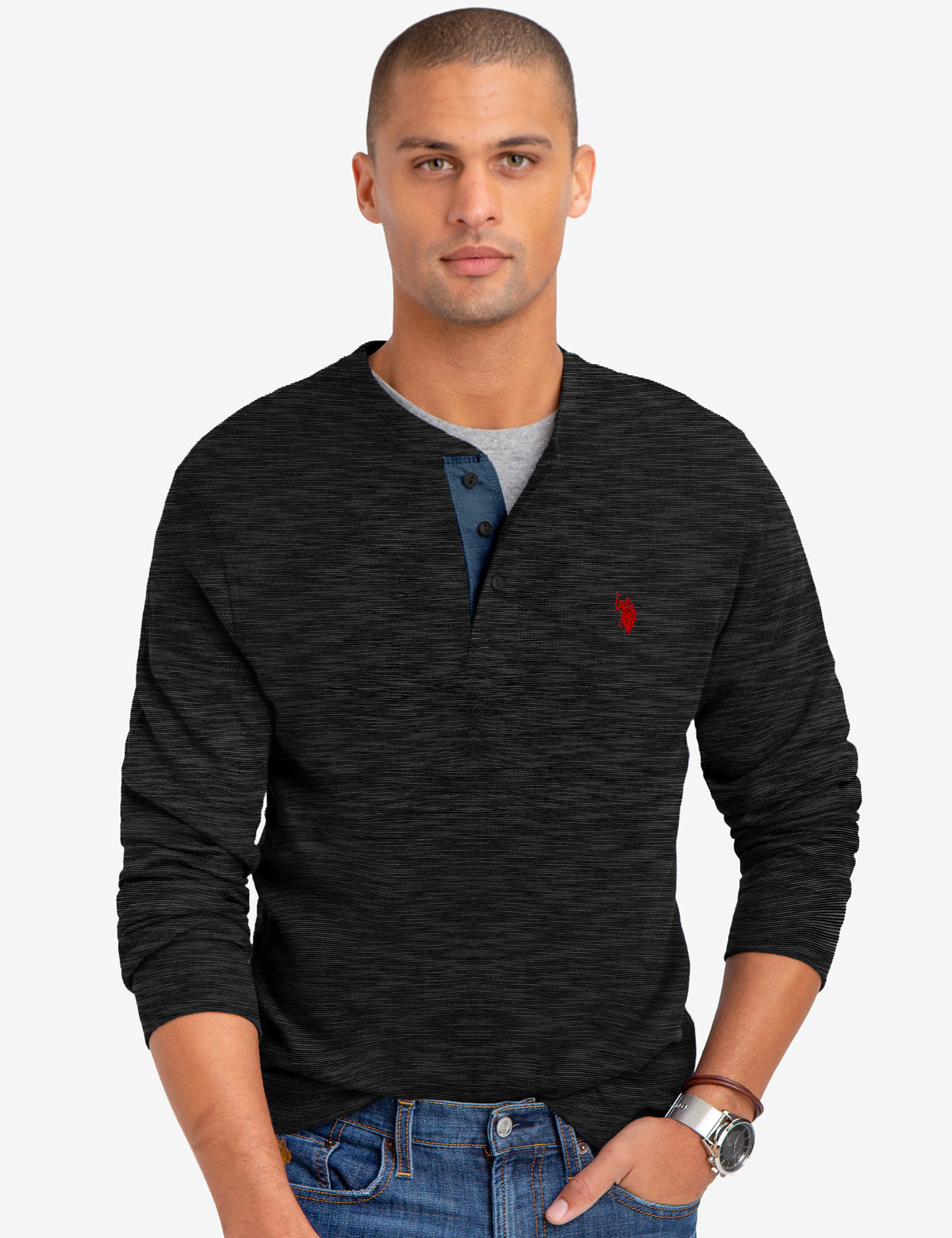 SPACE DYE THERMAL HENLEY
