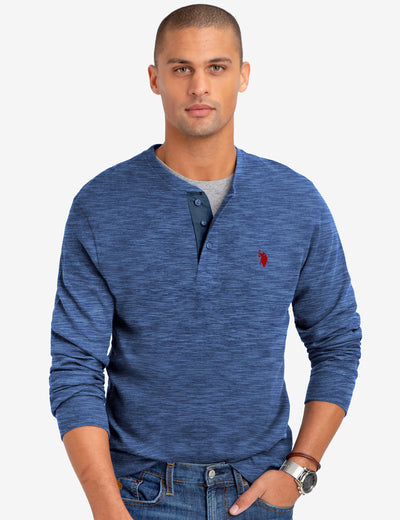 SPACE DYE THERMAL HENLEY - U.S. Polo Assn.