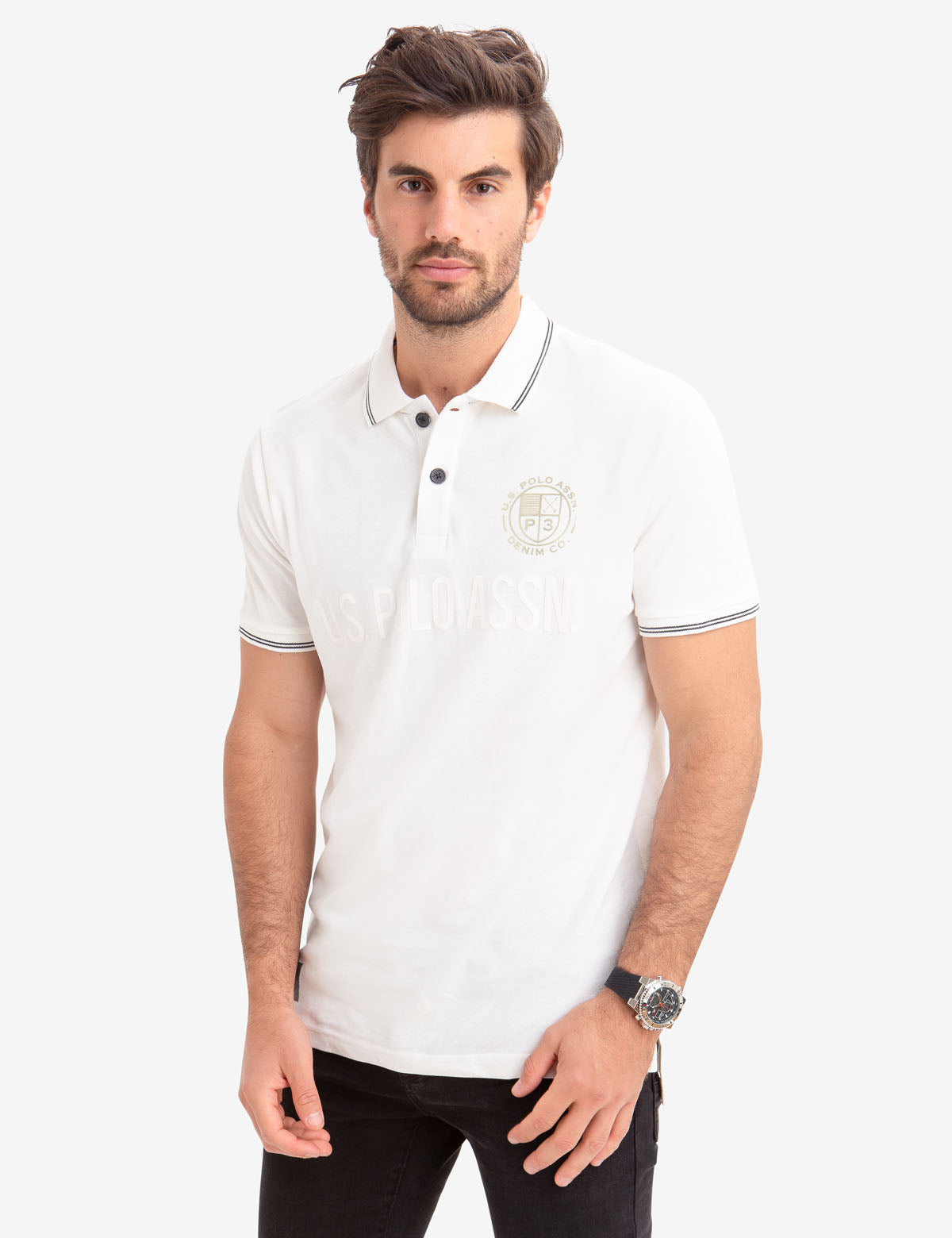 Metallic Print Polo Shirt