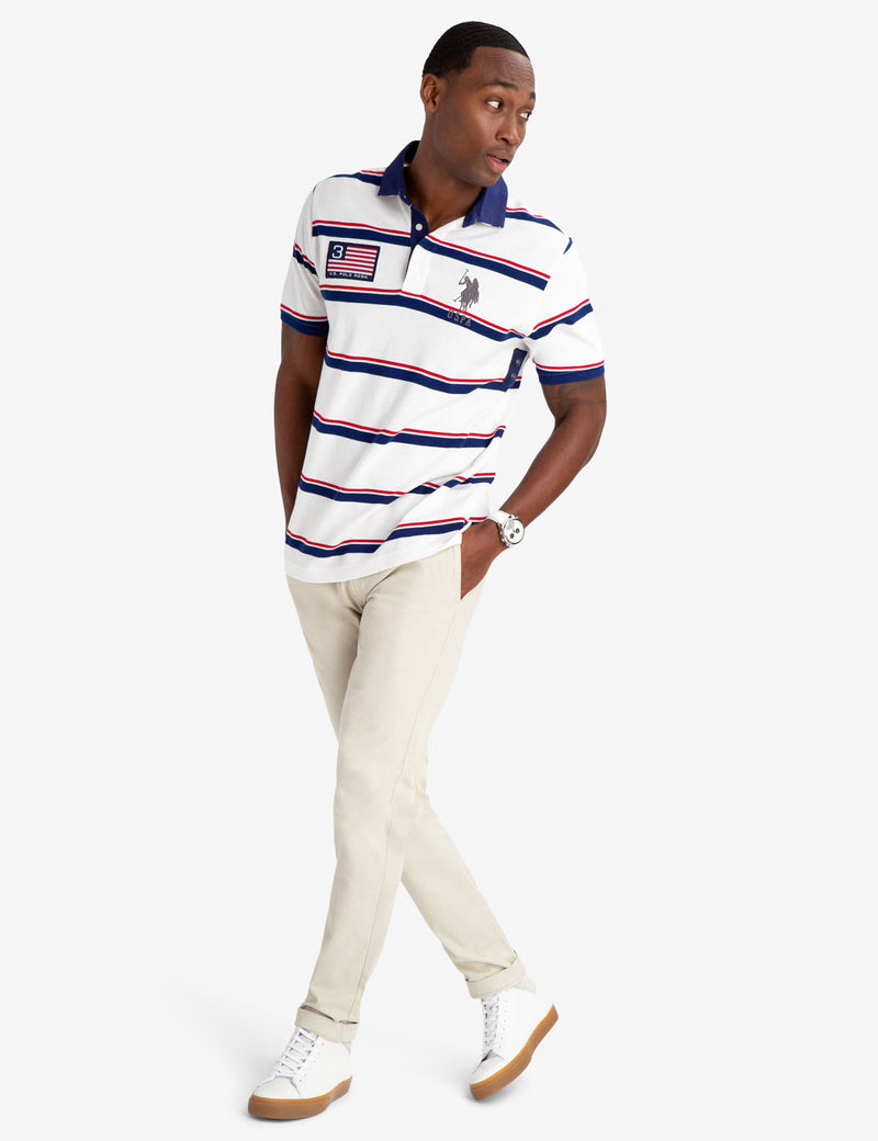 STRIPED TWILL POLO SHIRT