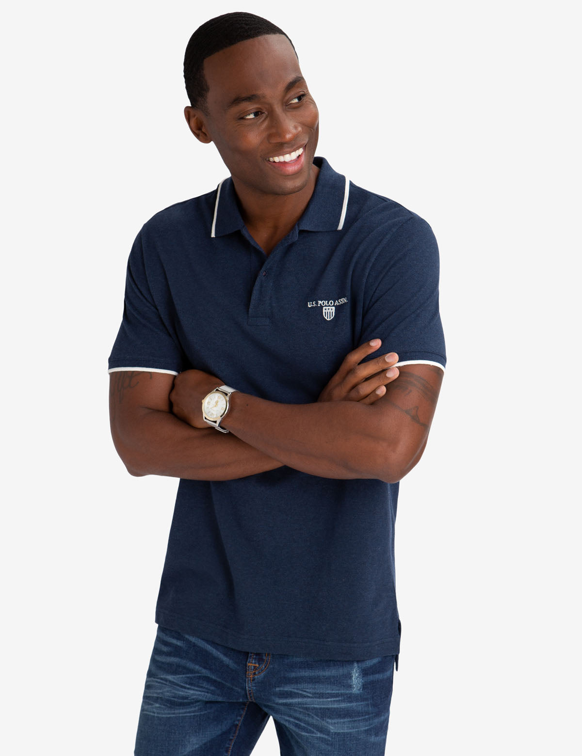 MARLED YARN POLO SHIRT WITH EMBROIDERED CREST