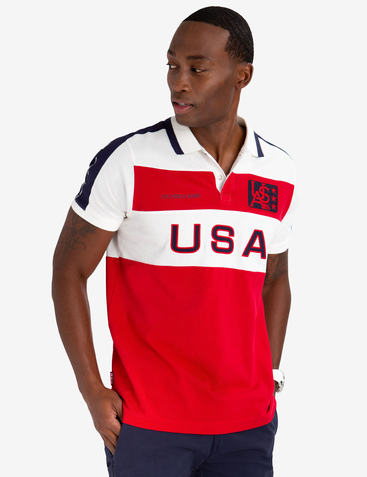 USPA FELT PATCH COLORBLOCK POLO SHIRT
