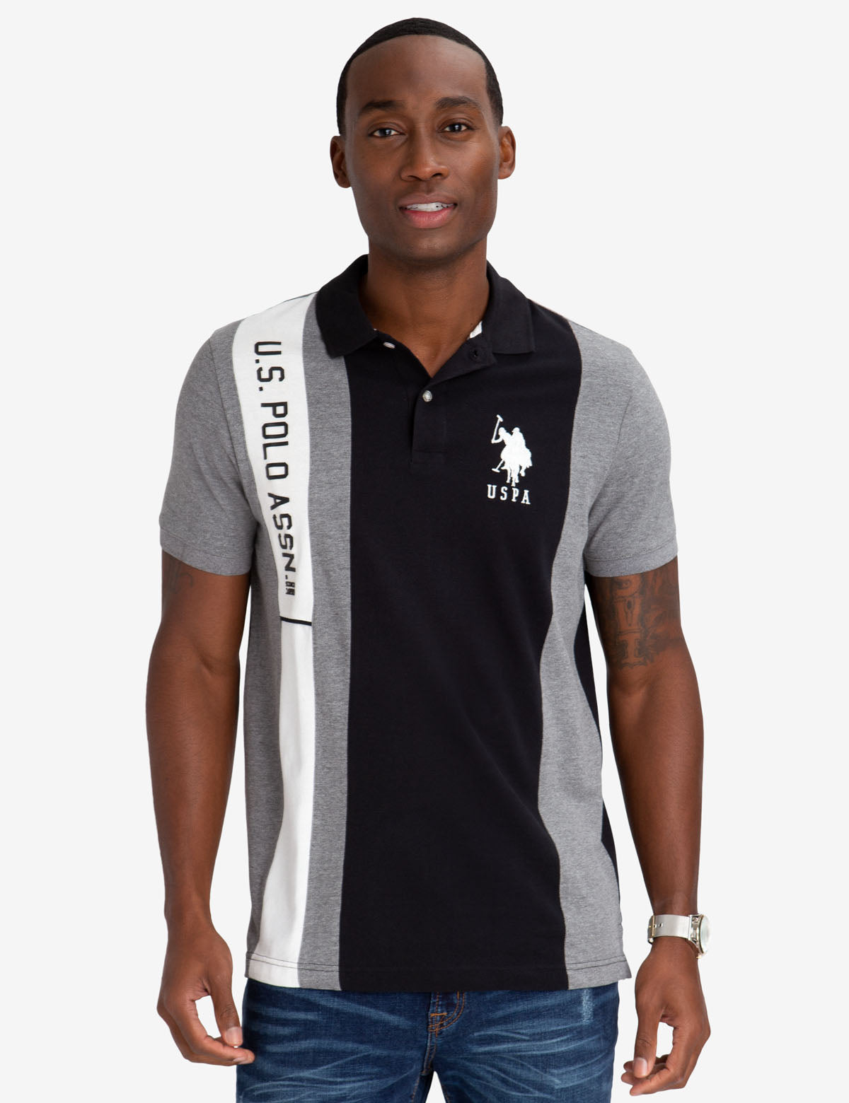 COLORBLOCK POLO SHIRT WITH RUBBER U.S. POLO ASSN. DETAIL