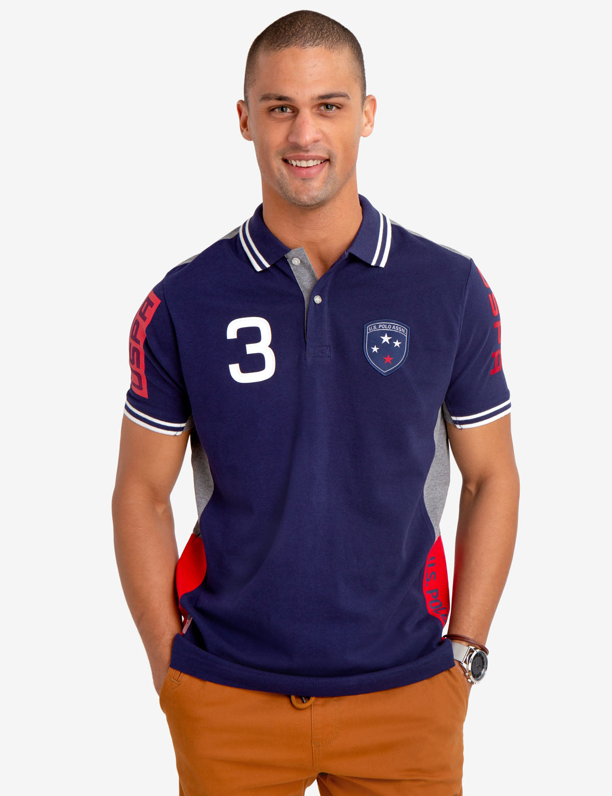 COLORBLOCK PATCH POLO SHIRT