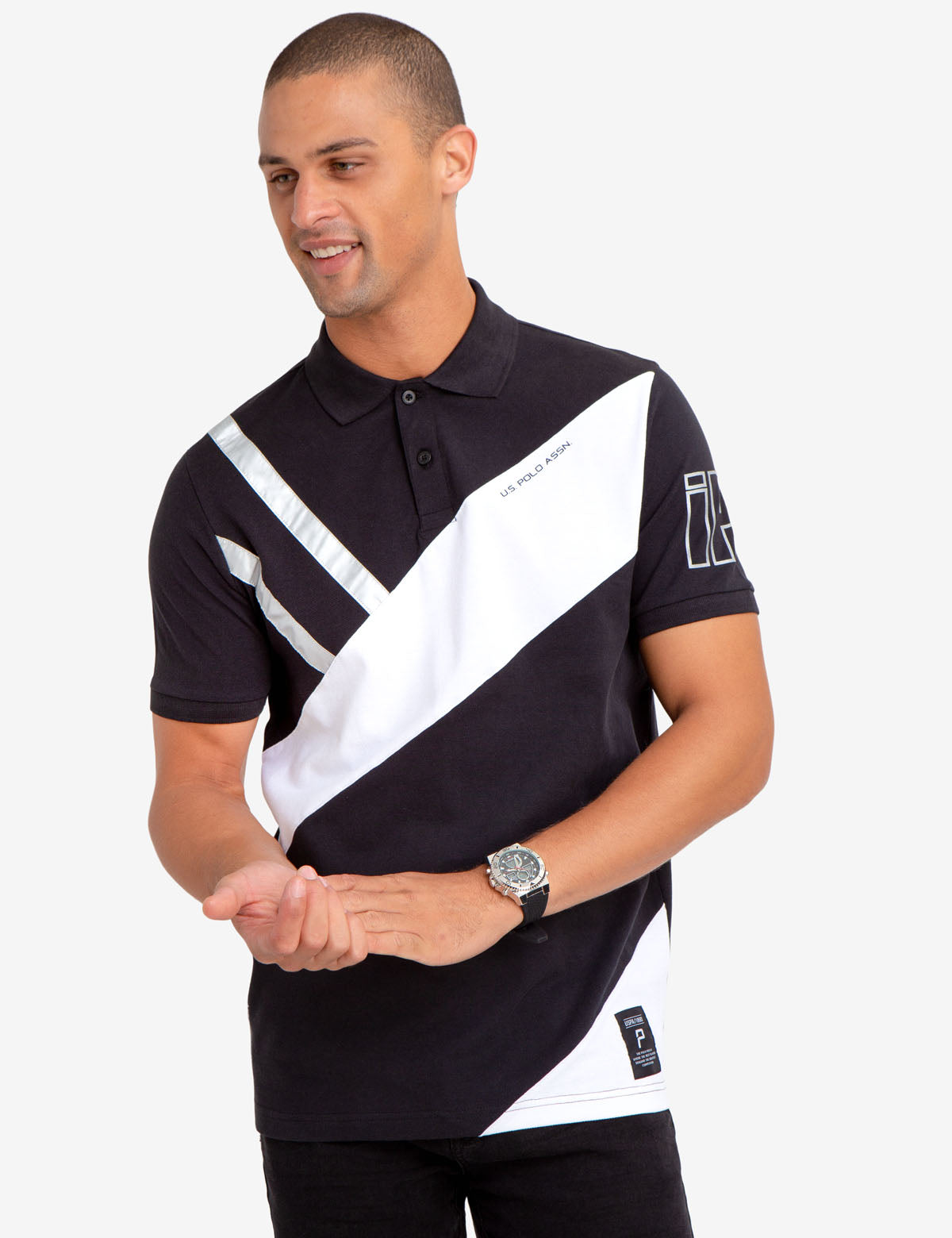 SILVER METALLIC DETAIL COLORBLOCK POLO SHIRT