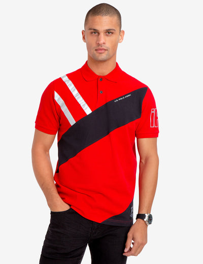 SILVER METALLIC DETAIL COLORBLOCK POLO SHIRT - U.S. Polo Assn.