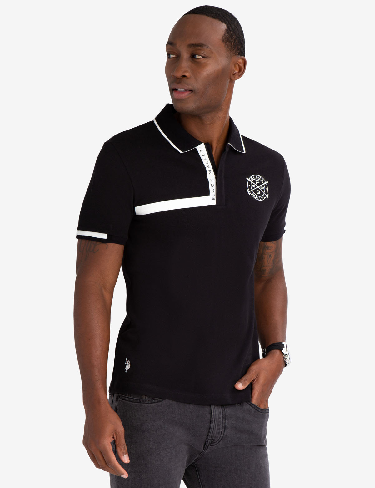 BLACK MALLET SLIM FIT ZIPPER POLO SHIRT