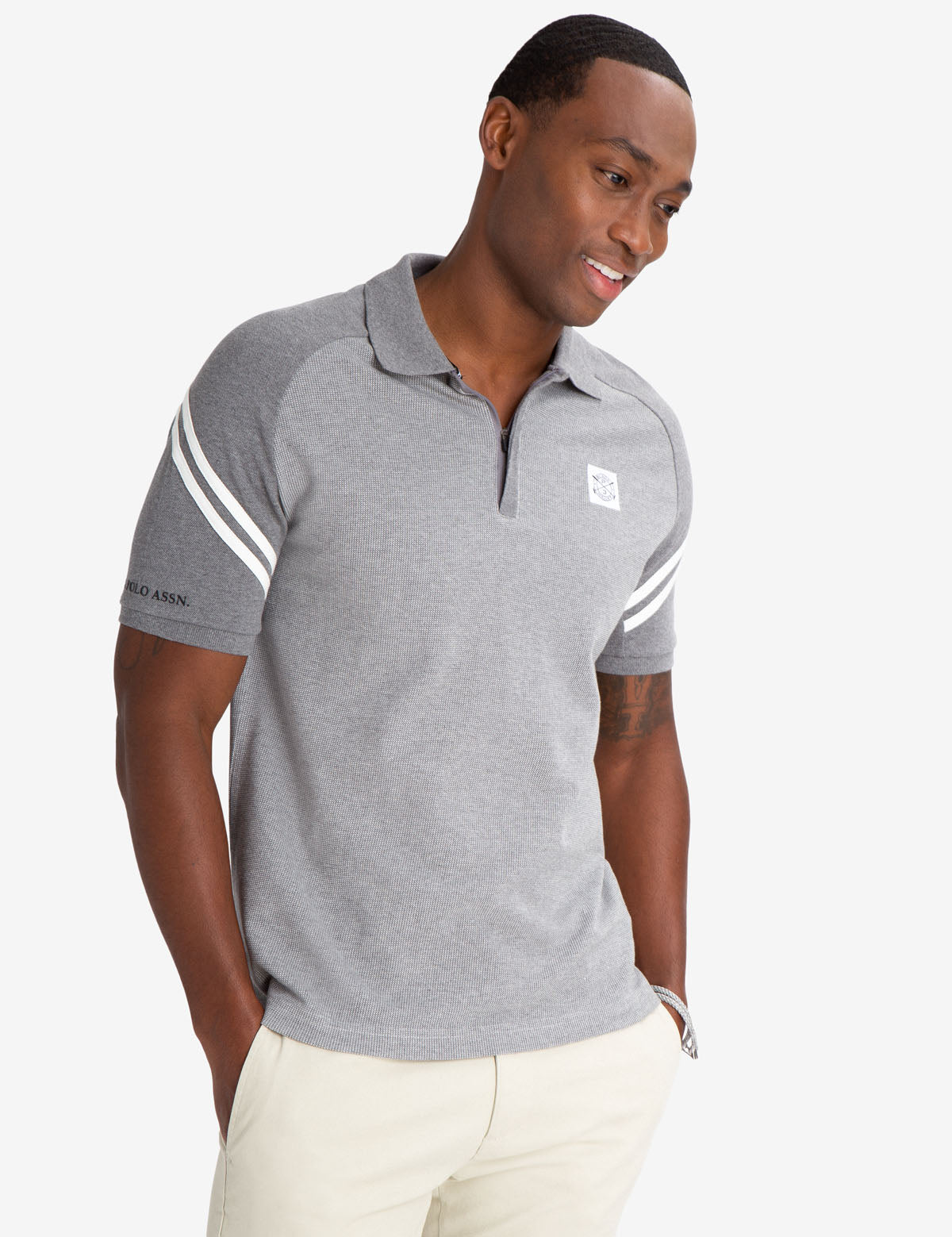 BLACK MALLET SLIM FIT JACQUARD ZIPPER POLO SHIRT