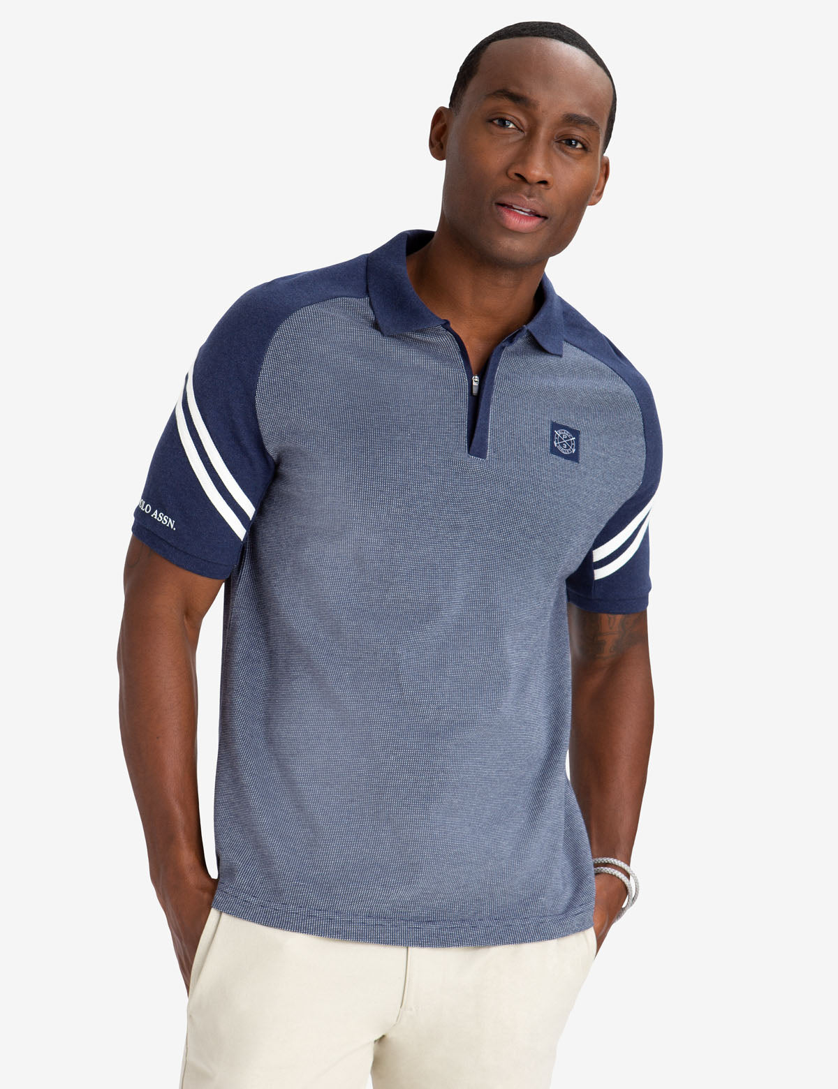 BLACK MALLET SLIM FIT JACQUARD ZIPPER POLO SHIRT - U.S. Polo Assn.