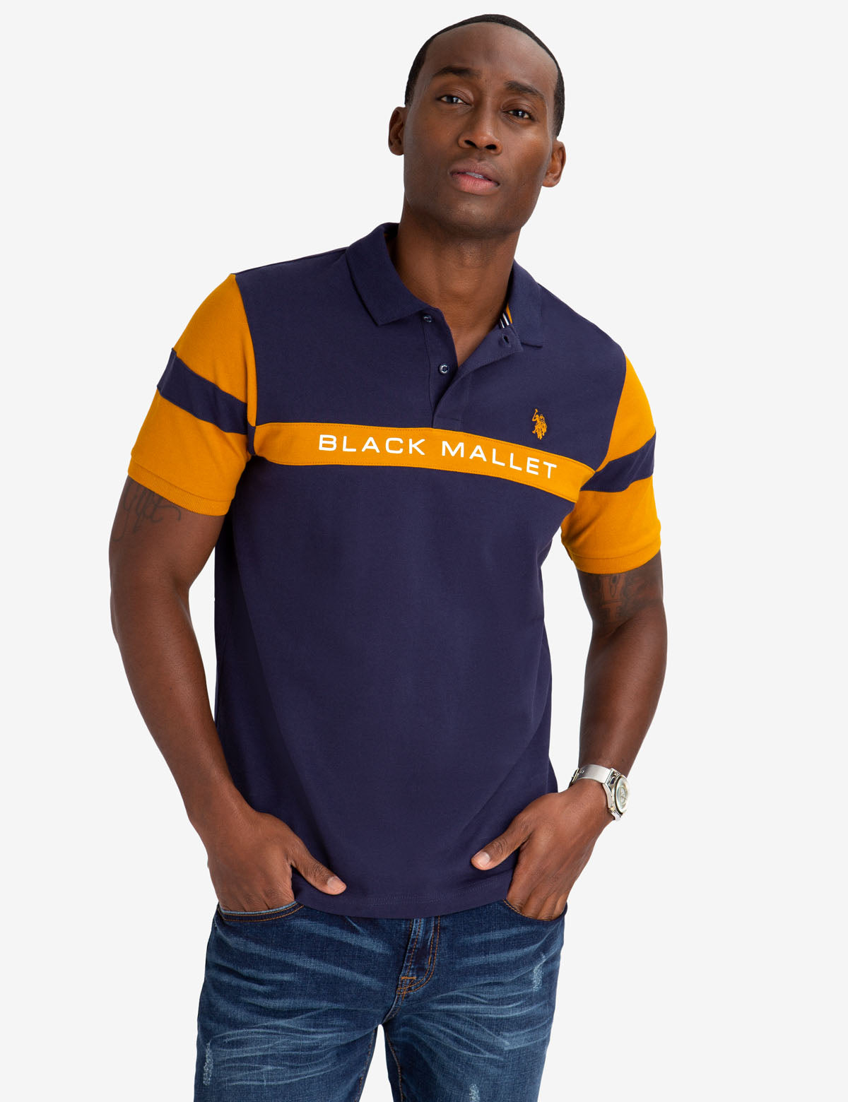 BLACK MALLET CLASSIC FIT CHEST STRIPE POLO SHIRT - U.S. Polo Assn.