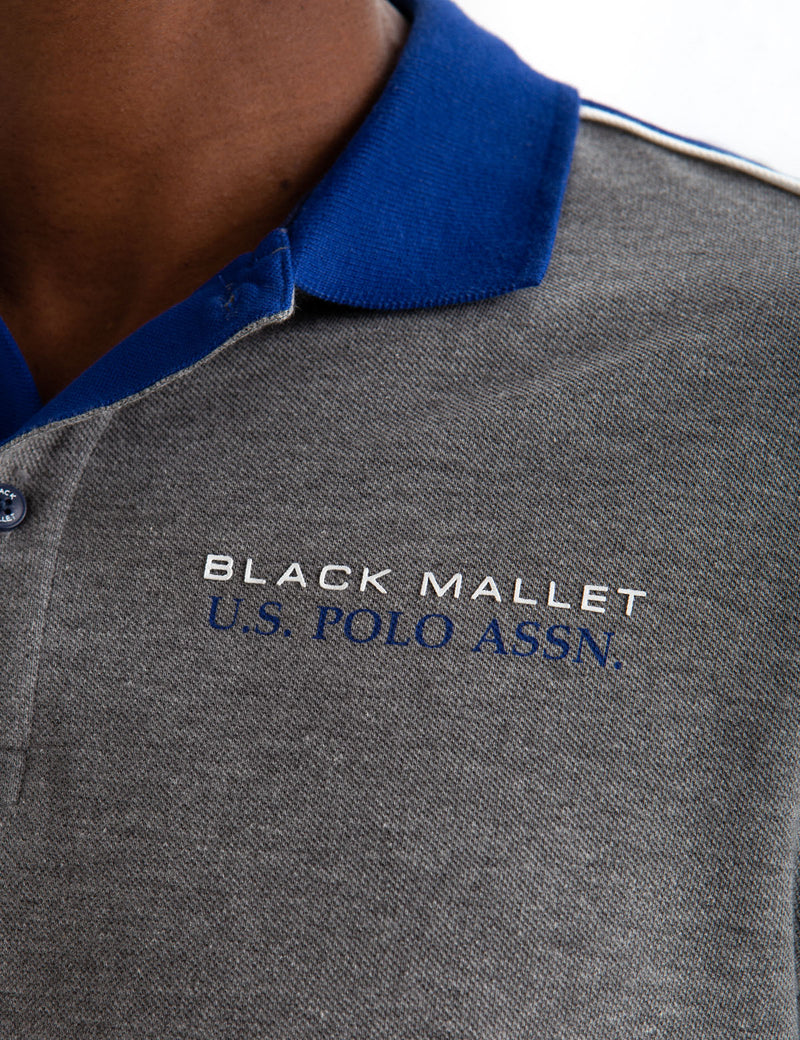 BLACK MALLET SHOULDER PIECING POLO SHIRT