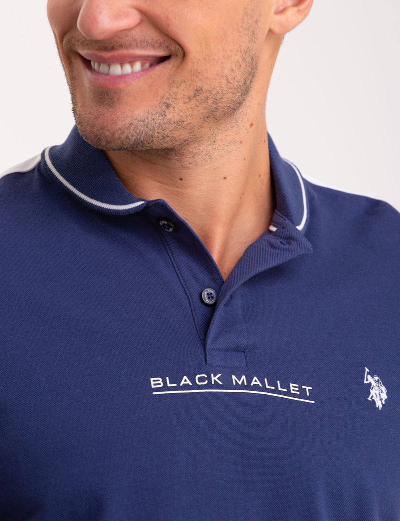 BLACK MALLET SHAWL COLLAR POLO SHIRT